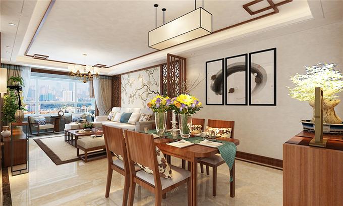 长沙北辰三角洲70平米两居室新中式风格装修案例