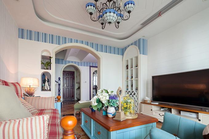 85平米地中海风格客厅装修效果图