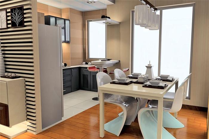 100平简欧现代厨房装修搭配效果图片