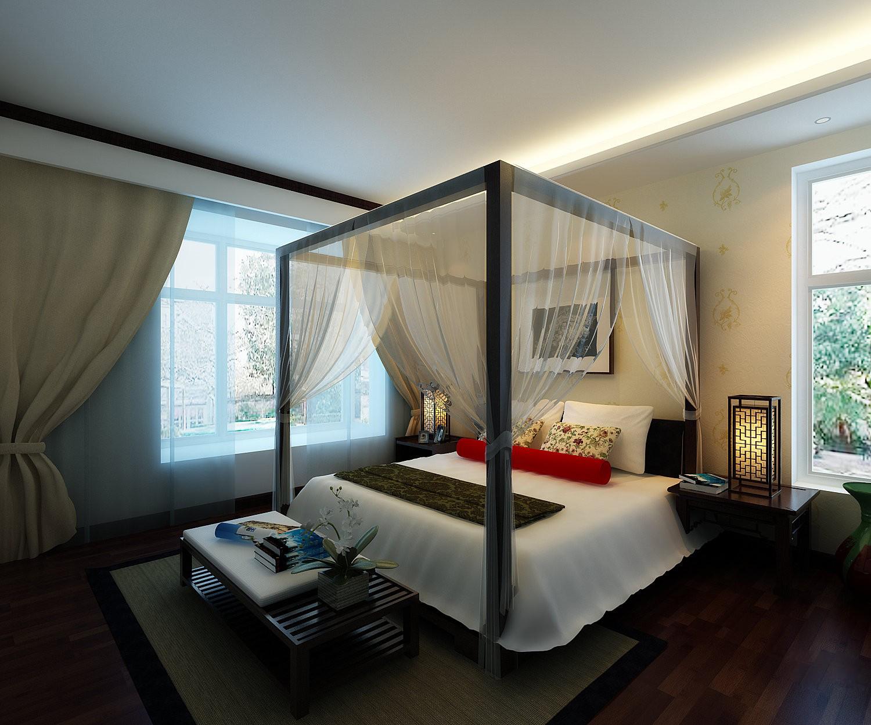 长沙110平米新中式风格卧室展示图