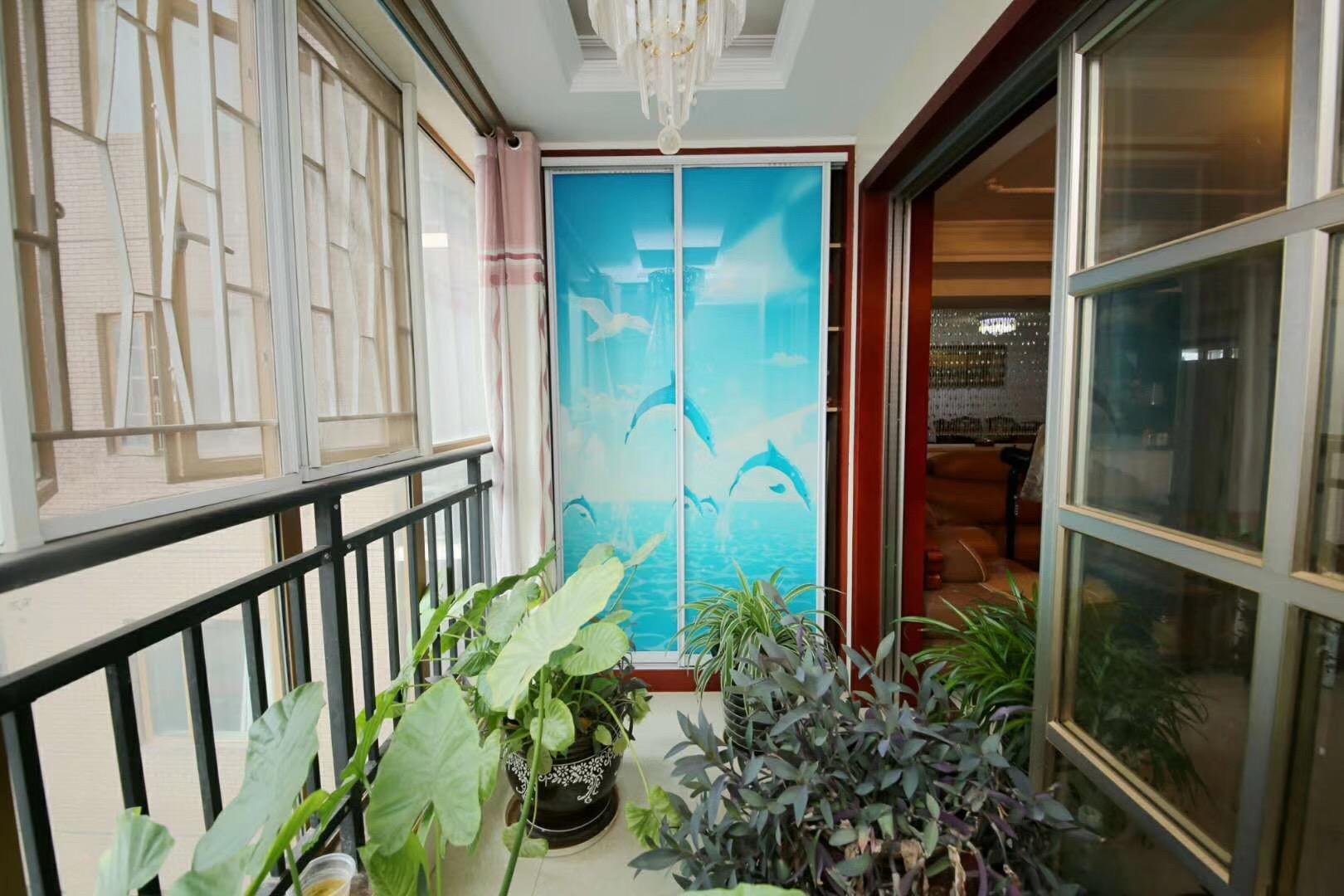 长沙云顶翠峰128平米新中式阳台装饰搭配图片