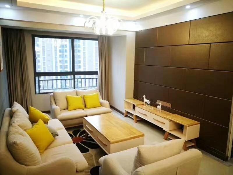 湘潭80平米新中式风格客厅全景图