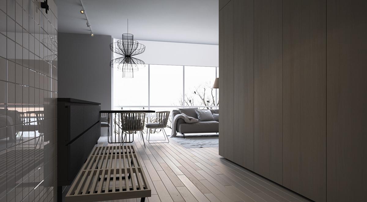 86平米北欧现代风格客厅过道图片