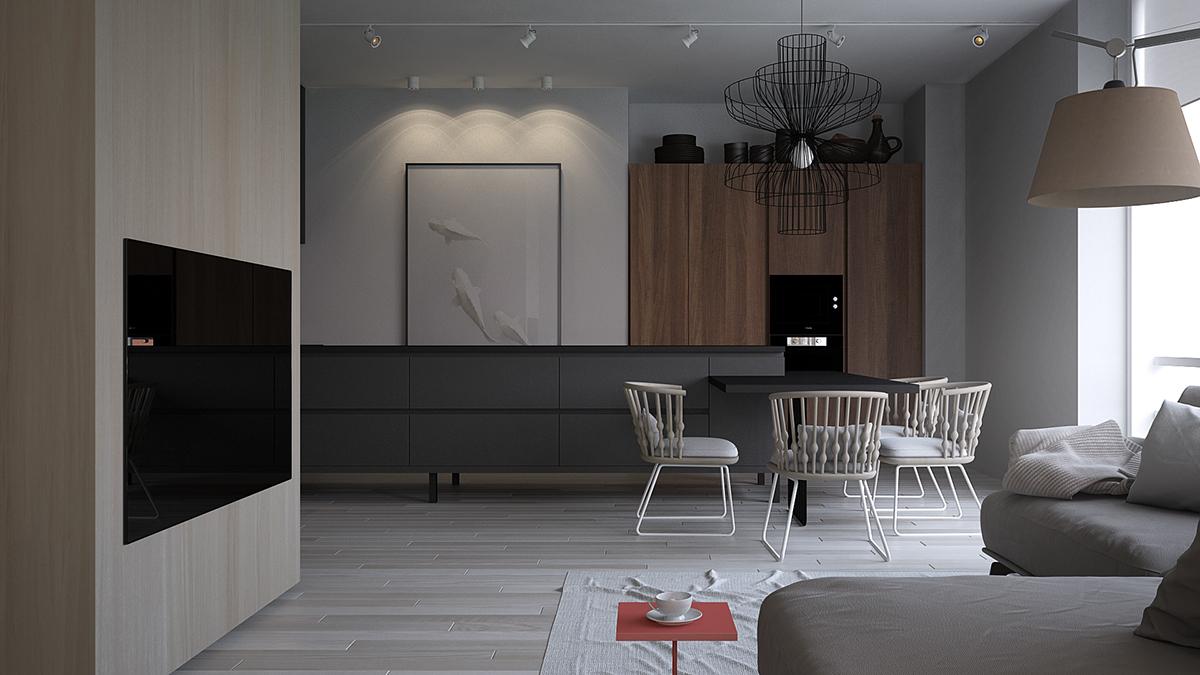 86平米北欧现代风格餐厅装修效果图