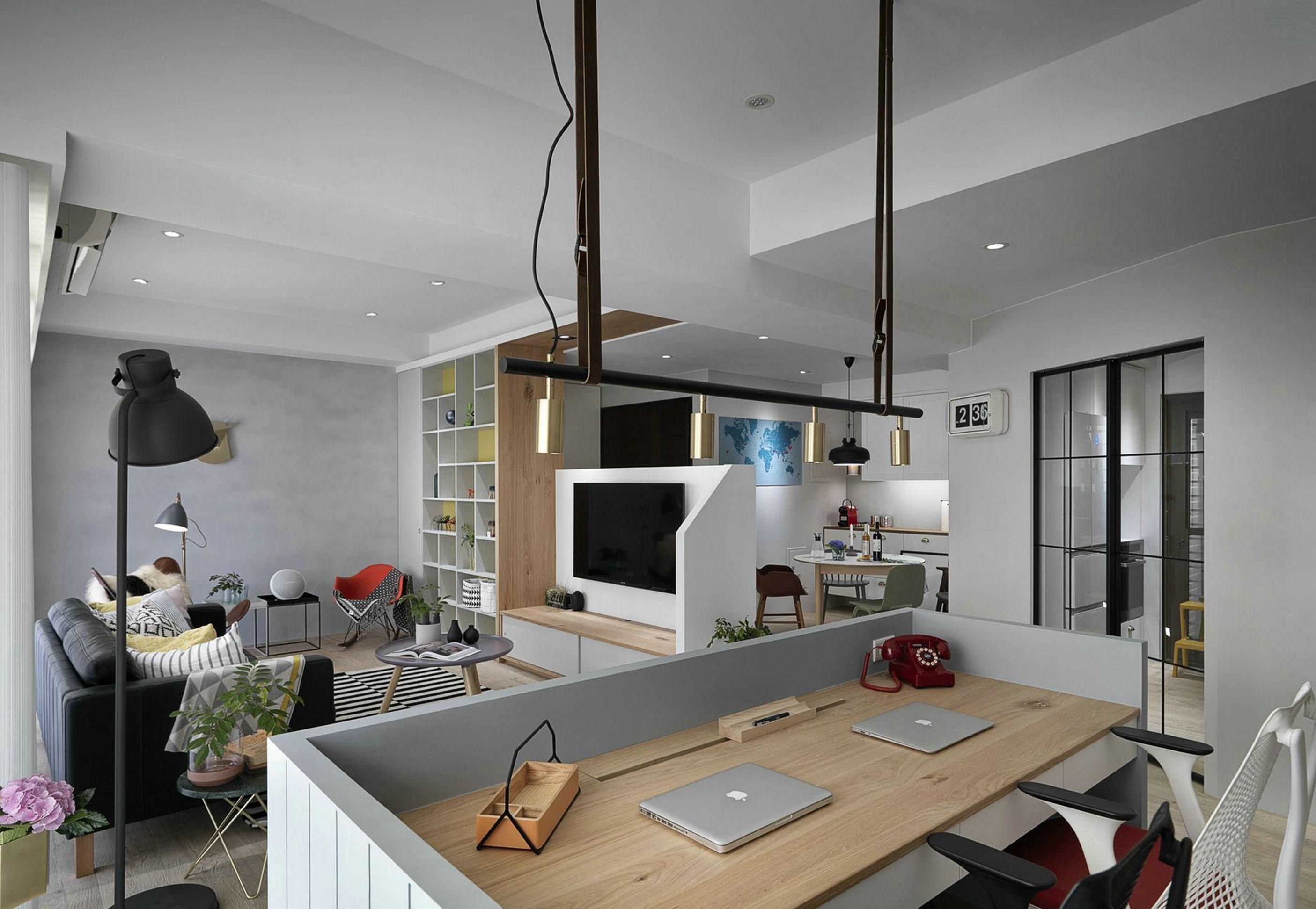 90平米北欧现代风格客厅办公区展示图