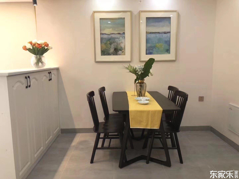 110平北欧现代餐厅黑色实木桌椅